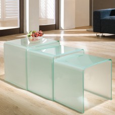 3 Nested Dull Polish Glass Coffee Side Tables