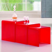 3 Nested Coffee Tables - Red Glass