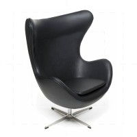 Egg Chair Black Leather insp by Arne Jacobsen