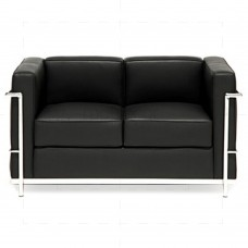 Le Corbusier  Love Seat  - LC2 2-Seater Sofa Black Leather - Reproduction