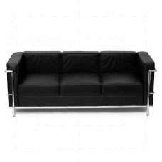 Le Corbusier chair LC2 Sofa Black Leather - 3 Seater - Reproduction