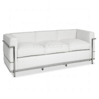 Le Corbusier LC2 Sofa 3-Seater Sofa White Leather - Reproduction