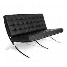 Barcelona Love Seat - 2 Seat Sofa - Black Leather