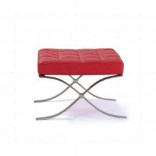 Barcelona Ottoman Red Leather