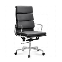 Eames Office Chair High Back Soft Pad Black Leather - Reproduction