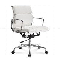 Eames Office Chair Low Back Soft Pad White Leather - Reproduction