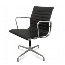 Eames Office Chair Ribbed EA108 Black Leather - Reproduction
