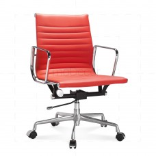 Eames Office Chair Low Back Ribbed Red Leather - Reproduction