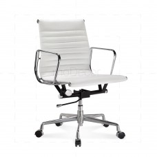 Eames Office Chair Low Back Ribbed White Leather - Reproduction